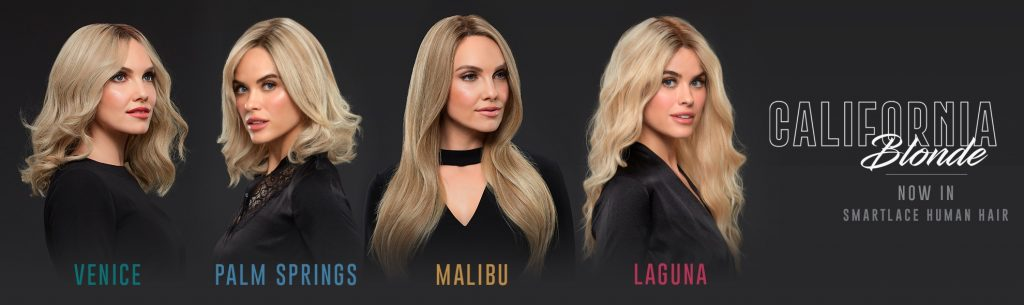 Various women wearing the new California Blonde Wig range by Jon Renau